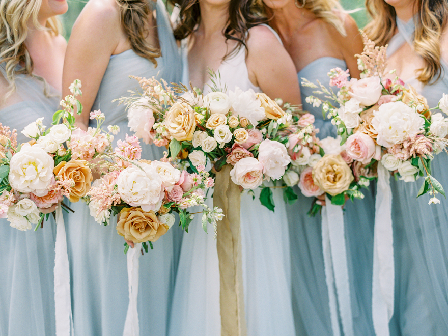 bouquets in gold, pink, and cream by Sarah's Garden