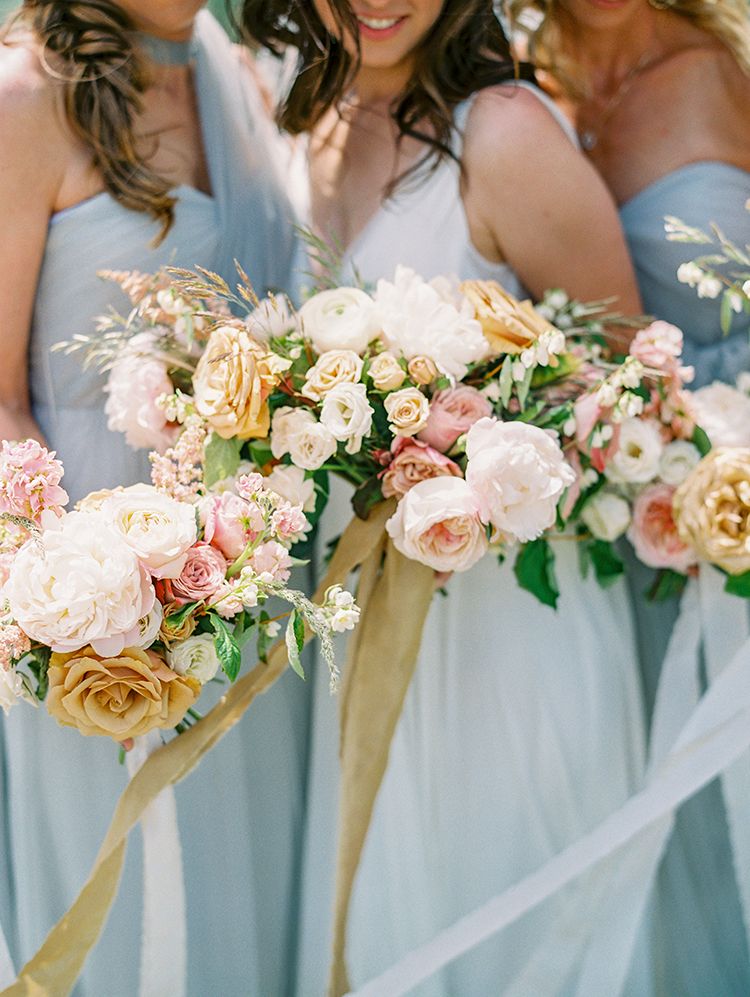 bouquets in gold, pink, and cream