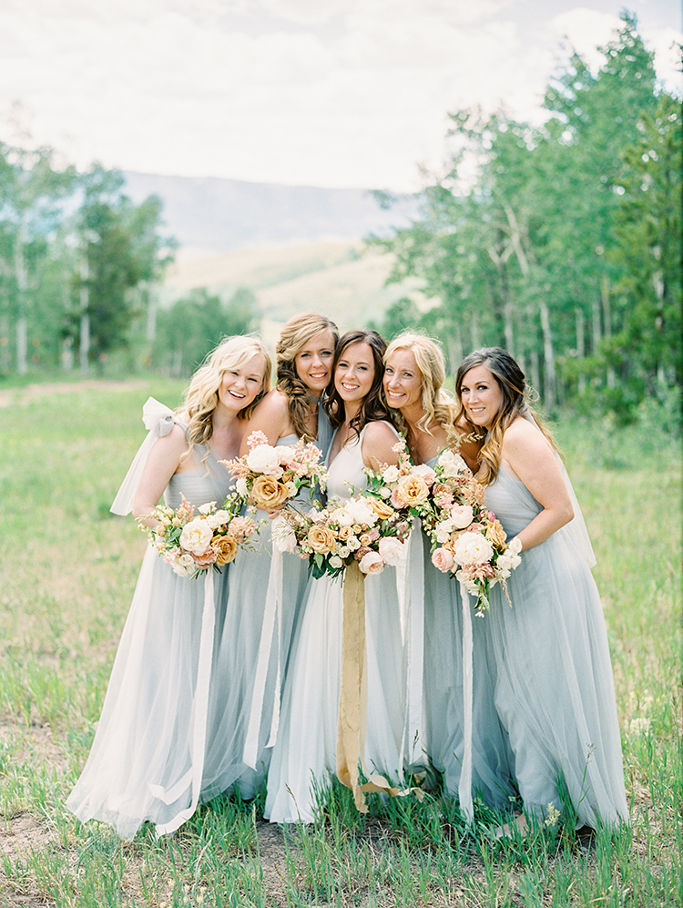 beautiful bridesmaids in grey
