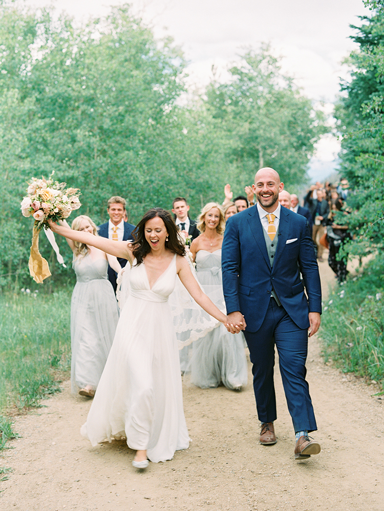 wedding party celebrates in the Colorado mountains