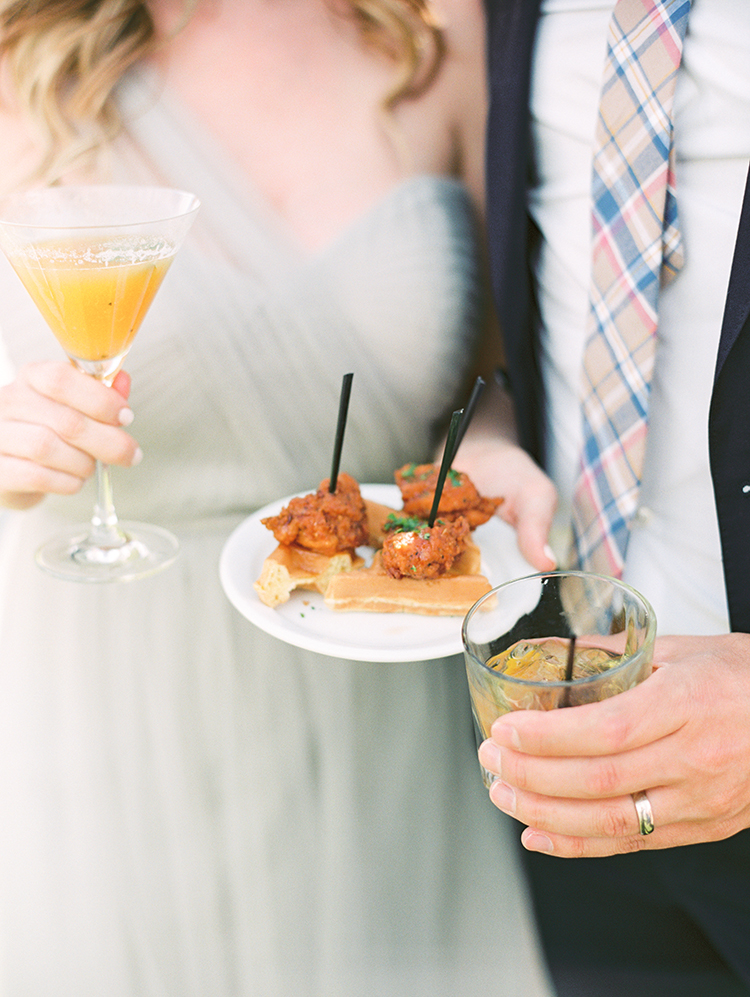 signature cocktails & chick and waffle appetizer