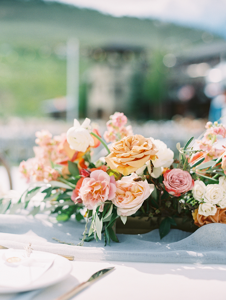 reception flowers in gold, pink and cream by Sarah's Garden