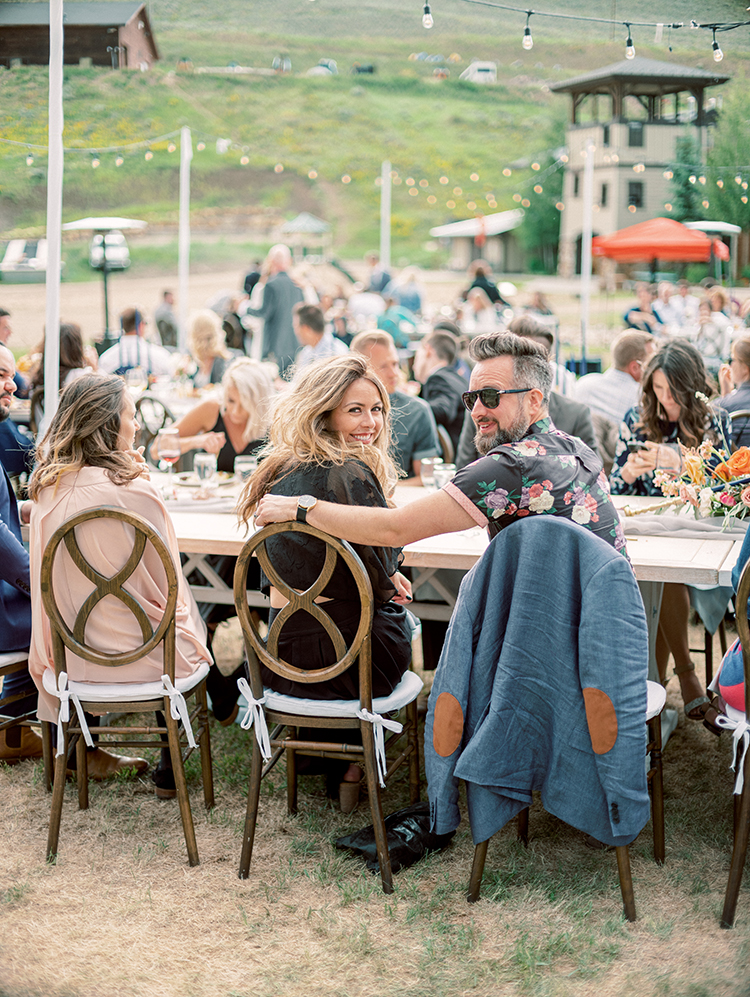 outdoor wedding reception at Granby Ranch, Colorado