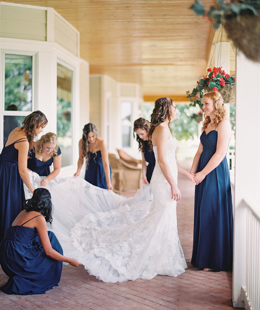 lace wedding dress & bridesmaids in blue