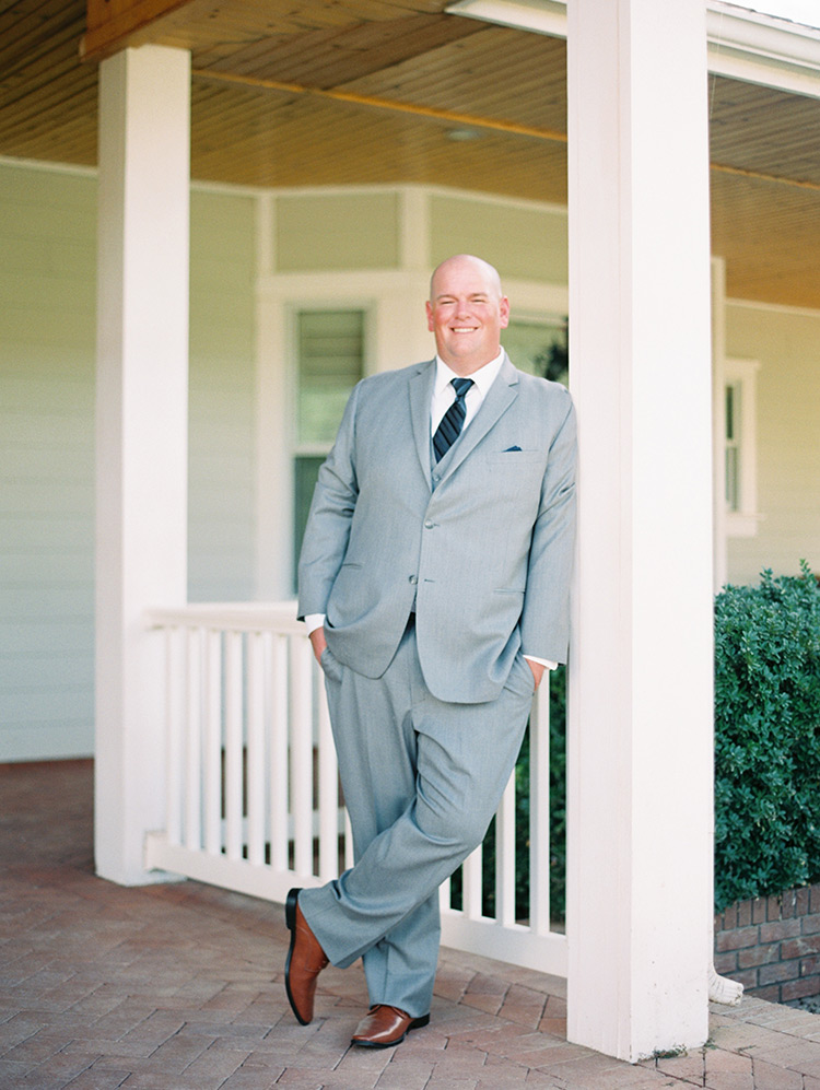three-piece suit in light gray