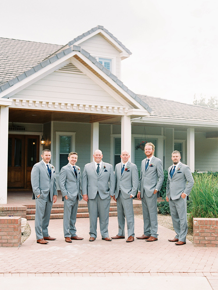 groomsmen in blue and gray