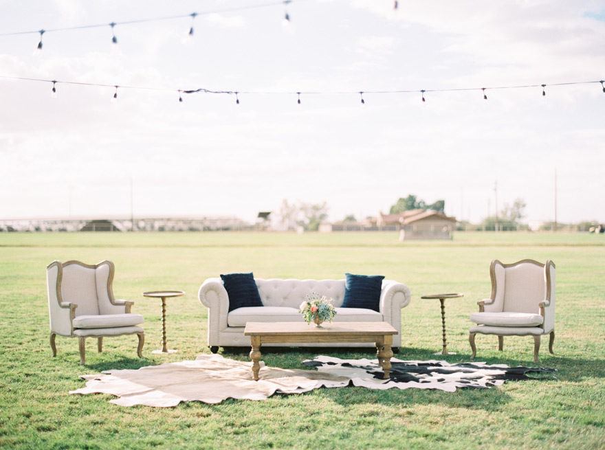 stylish outdoor lounge area at a wedding reception