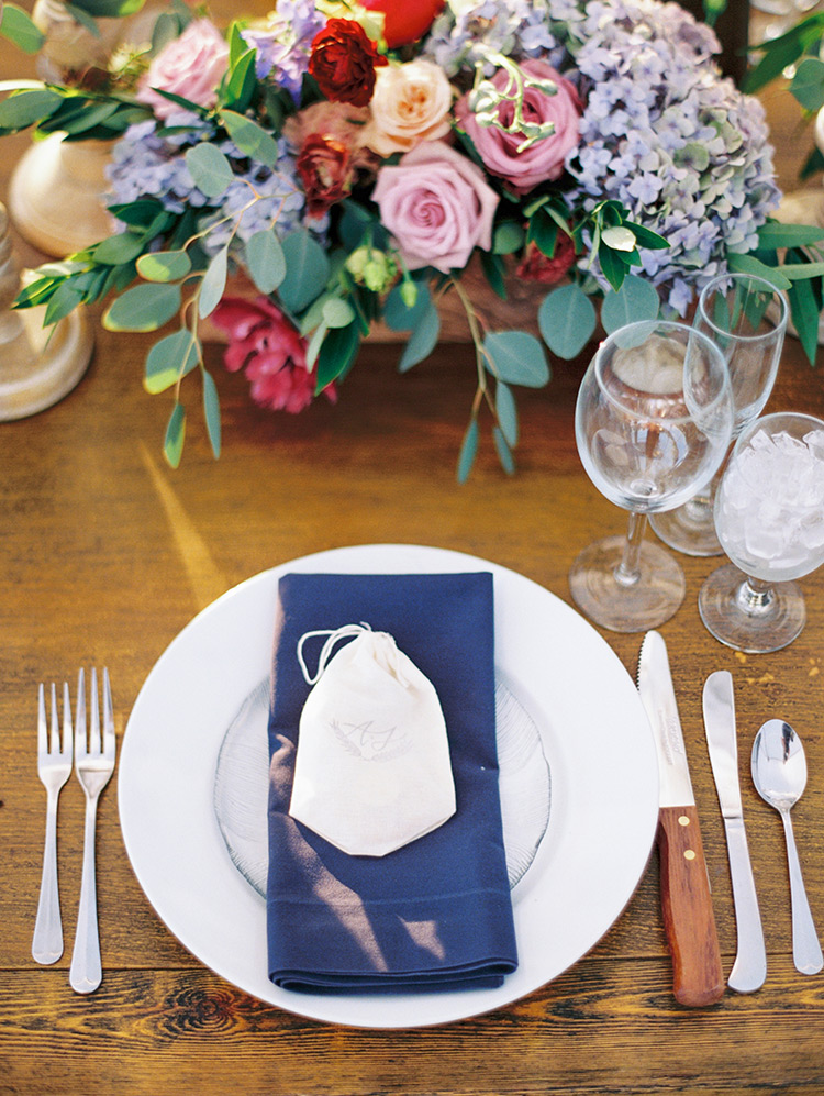 feasting table set with blue and white