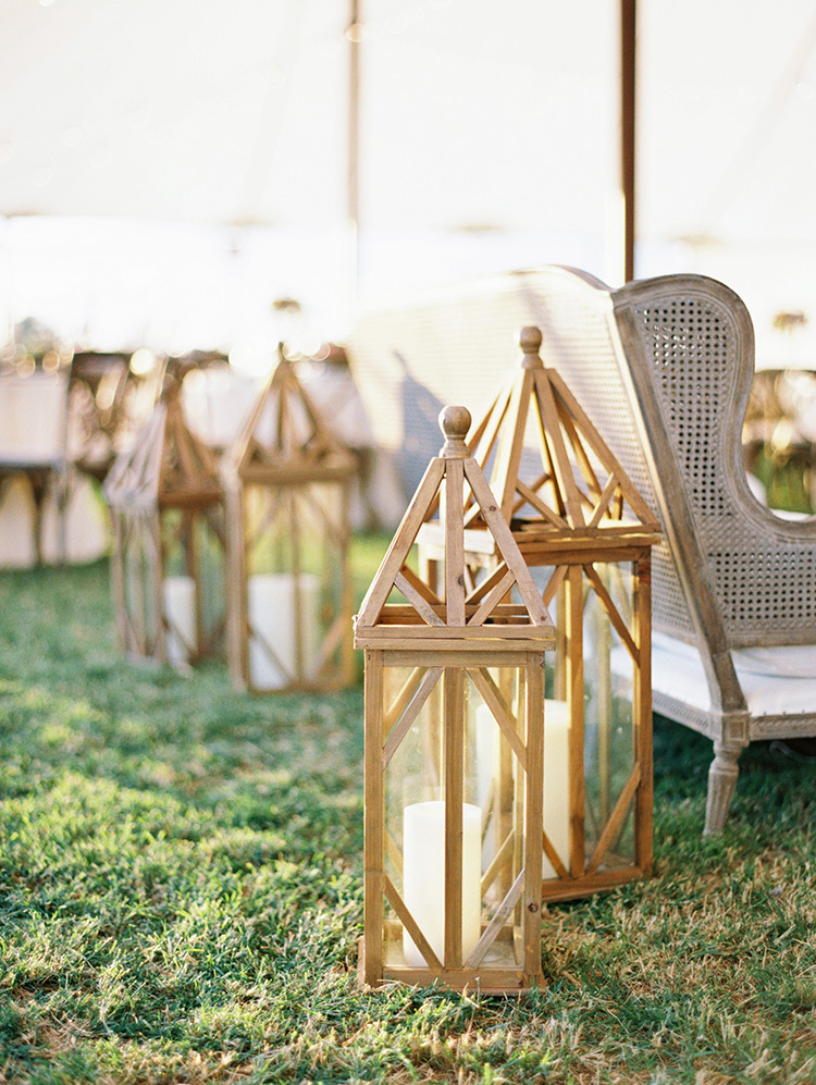 outdoor wedding reception on a family farm