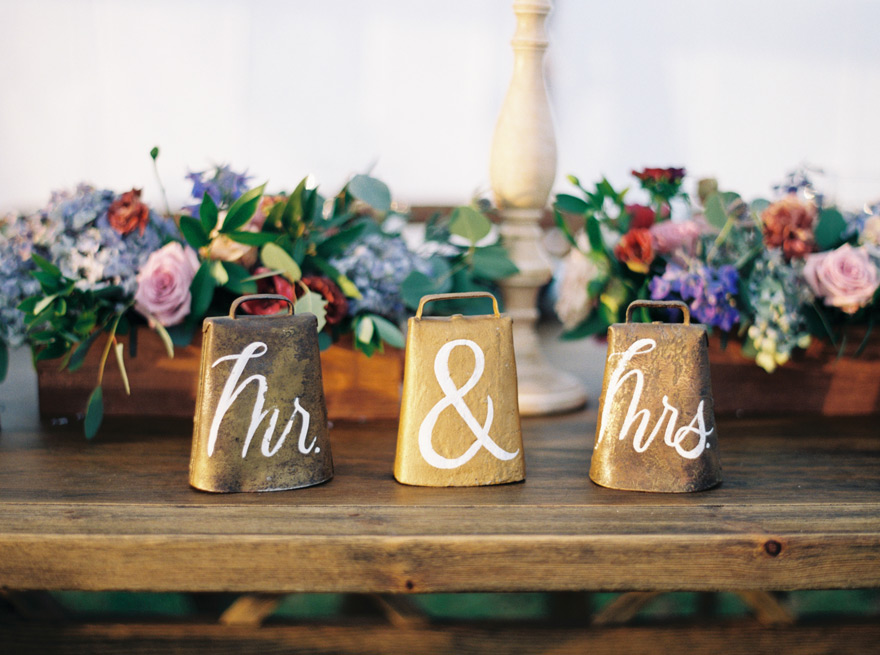 cowbell accents for a farm wedding