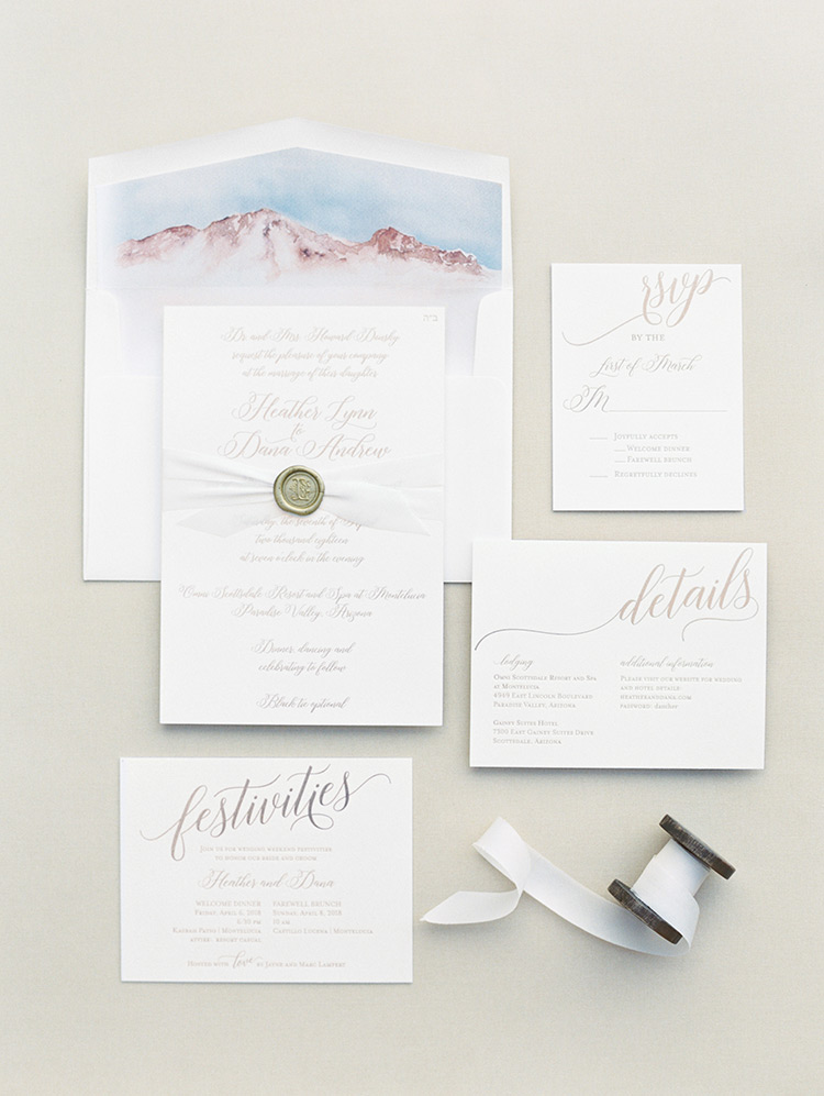 invitation suite with hand-lettering and watercolor details