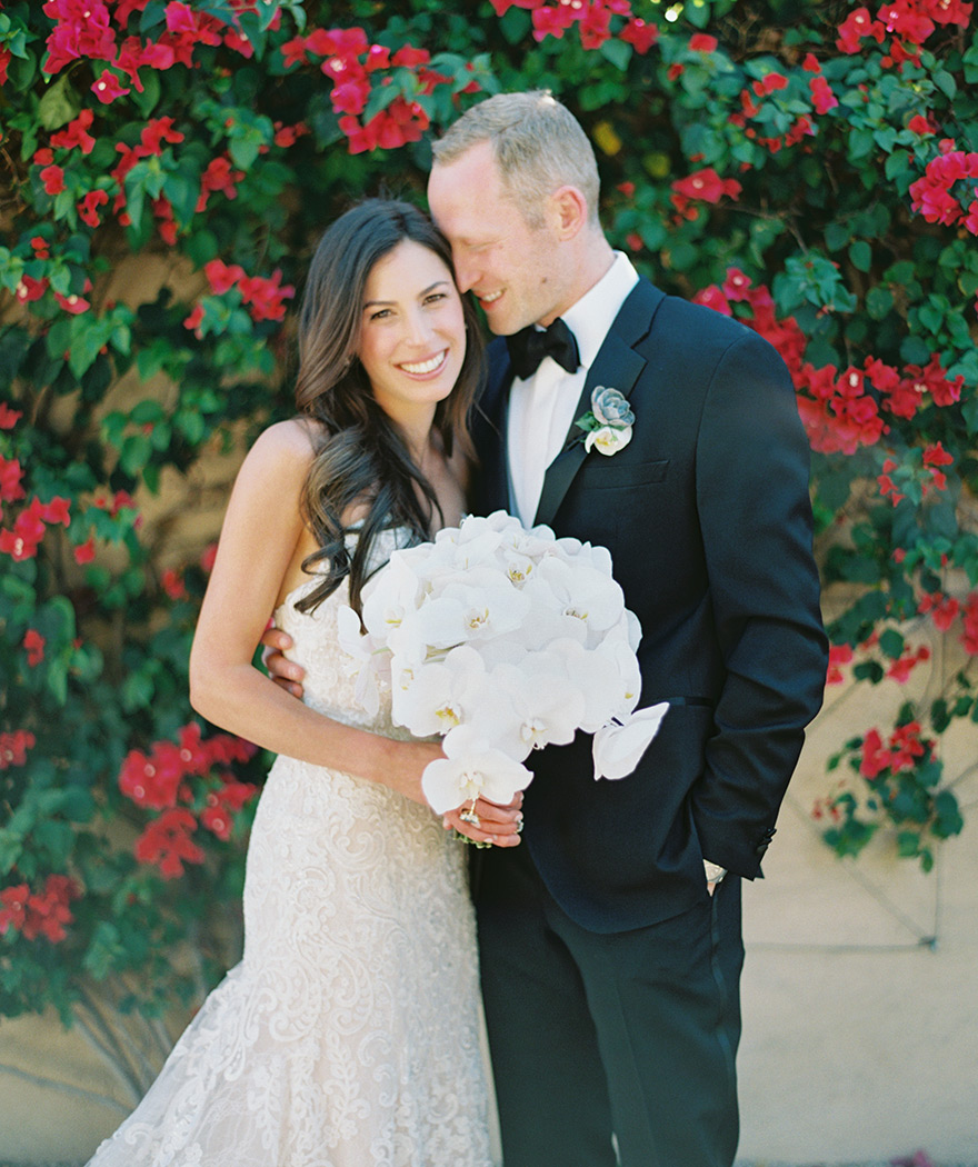 classic black tux and white lace wedding gown