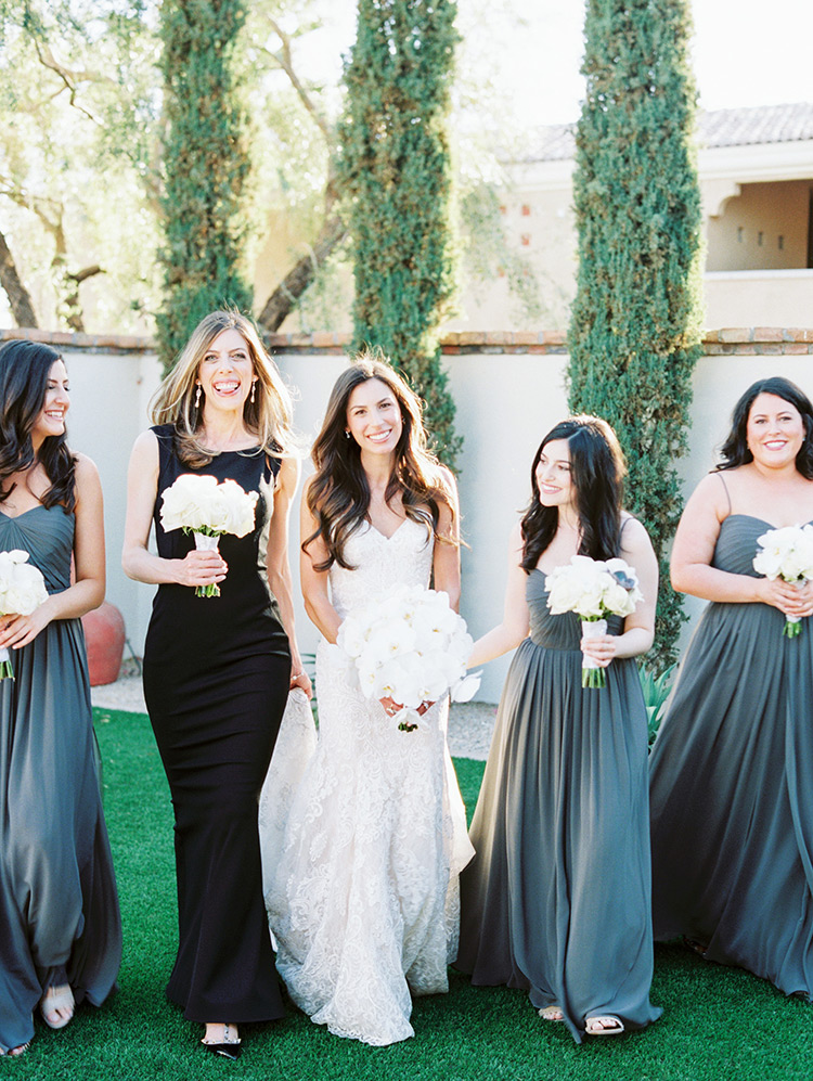 bridesmaids in gray and black
