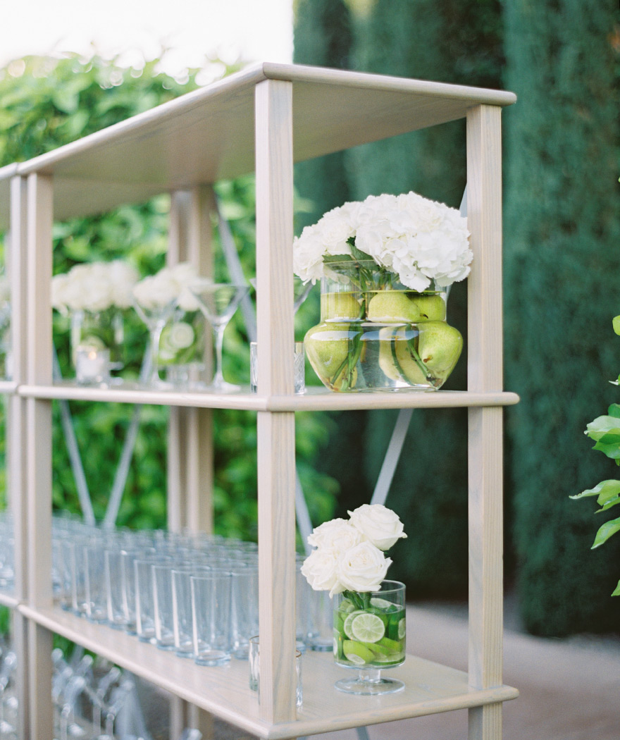 elegant outdoor reception with green & white decor