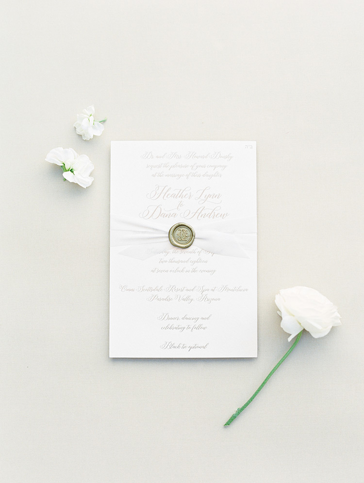 wedding invitation with hand-lettering