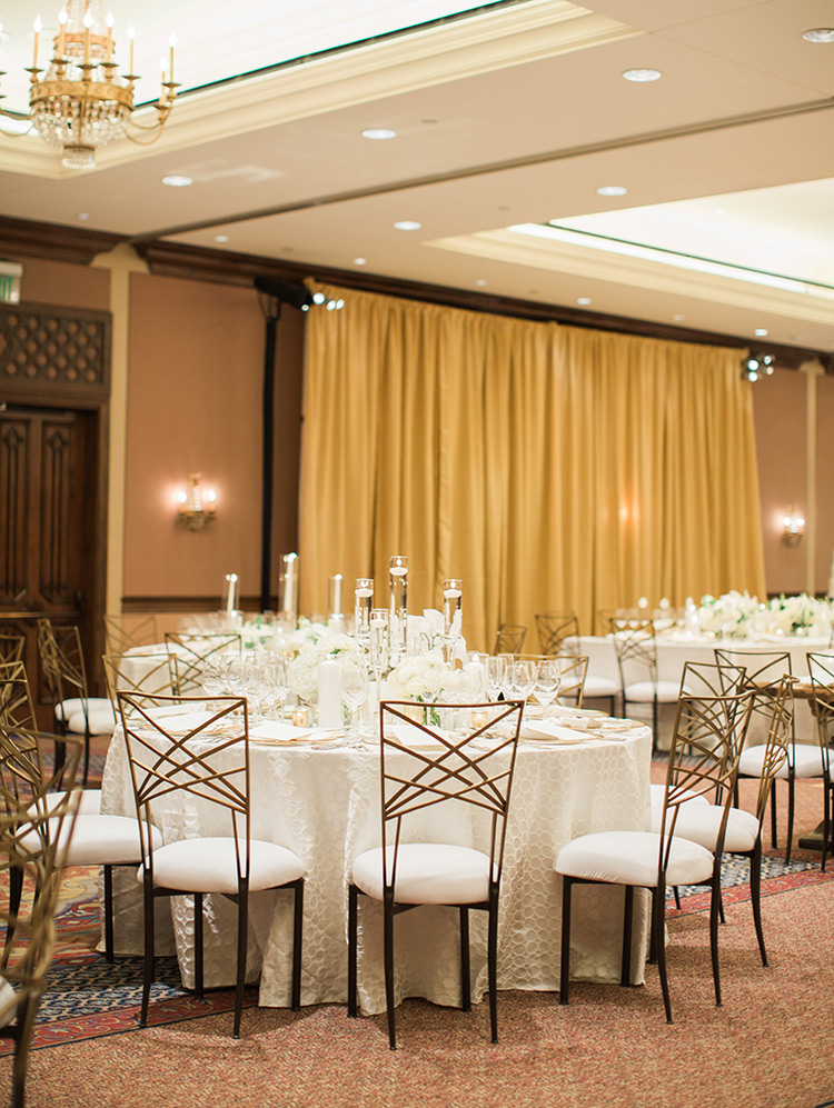 elegant ballroom reception with white flowers