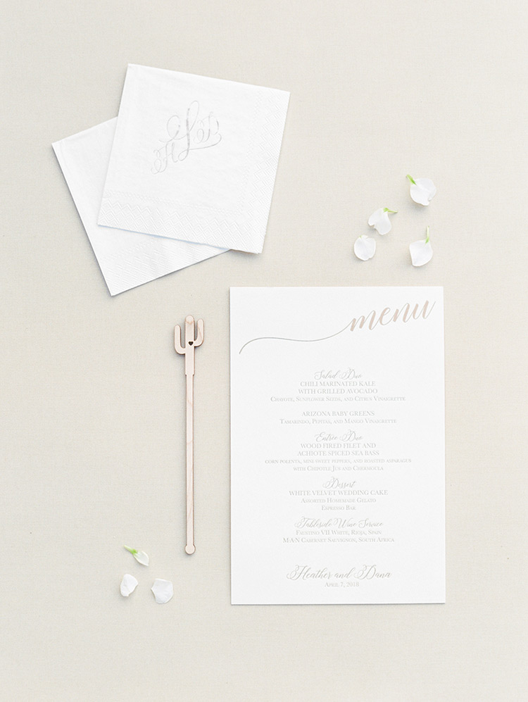 reception details with hand-lettered menu and cactus drink-stirrer