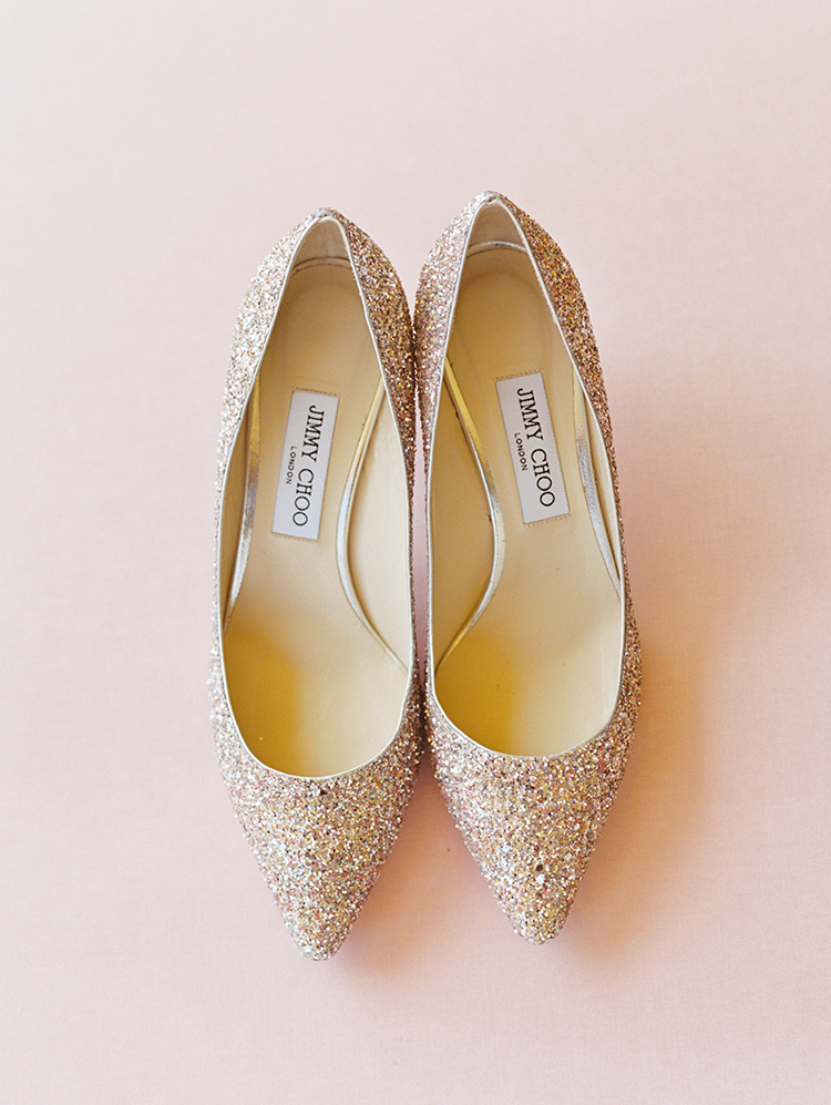 sparkly Jimmy Choo wedding shoes
