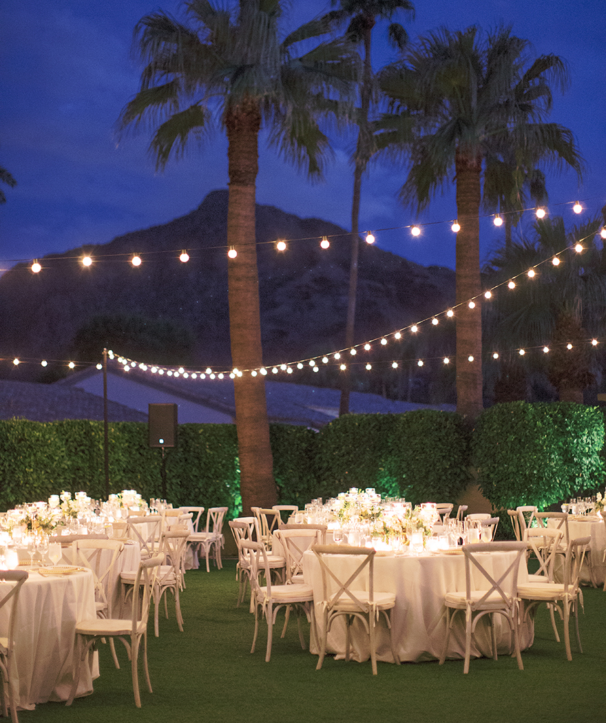 elegant candlelit outdoor wedding reception