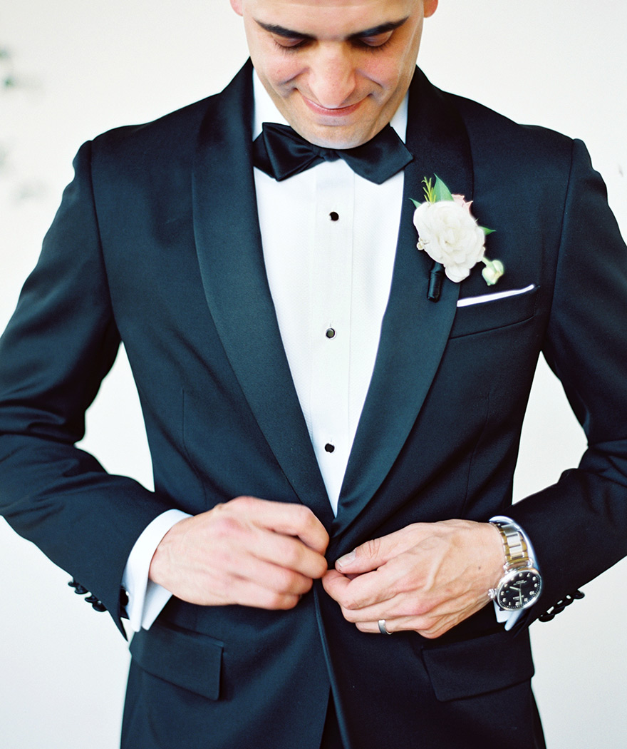 classic black tux for the groom
