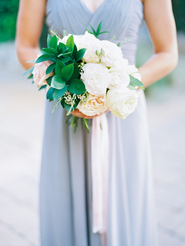 cream and blush bouquet with trailing ribbons