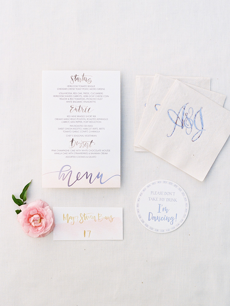 hand-lettered menu & wedding reception details