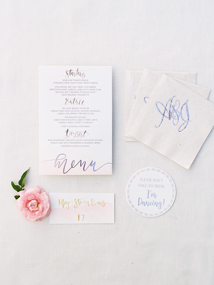 hand-lettered menu & wedding reception details