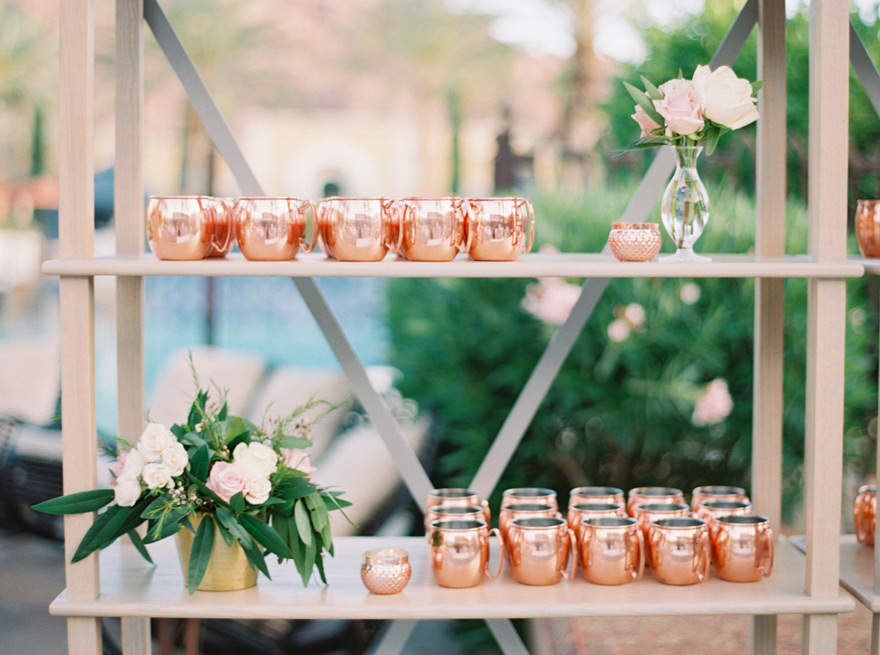 copper mugs ready for the wedding reception