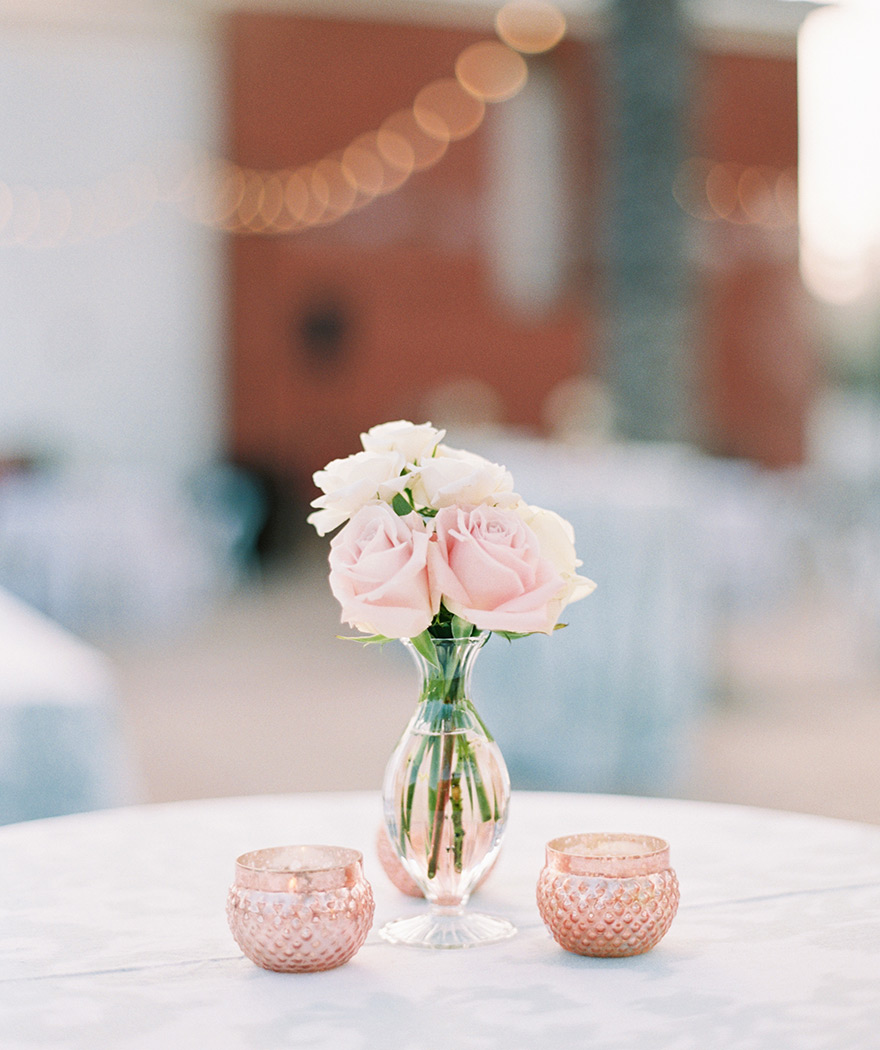 blush & cream flowers at outdoor wedding reception