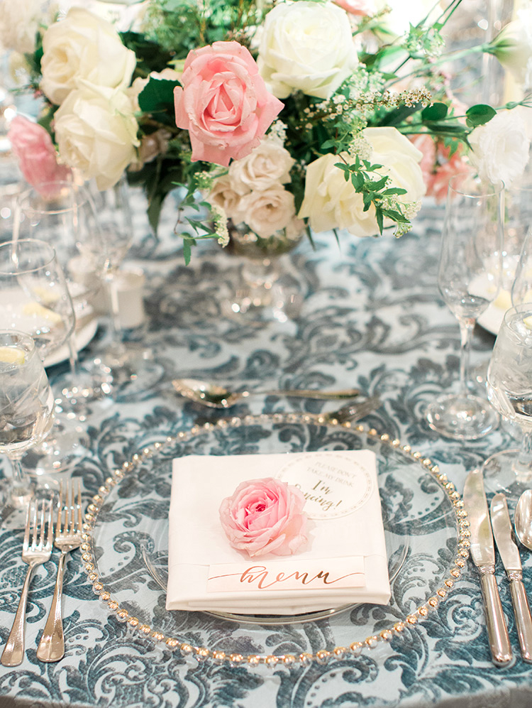 blush & cream flowers and baroque patterned linens, wedding reception