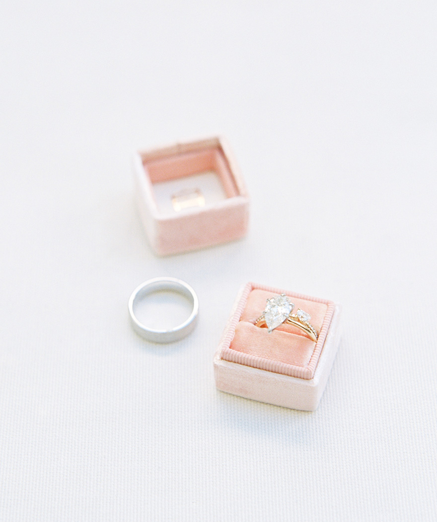 unique diamond engagement ring in a pink Mrs. Box