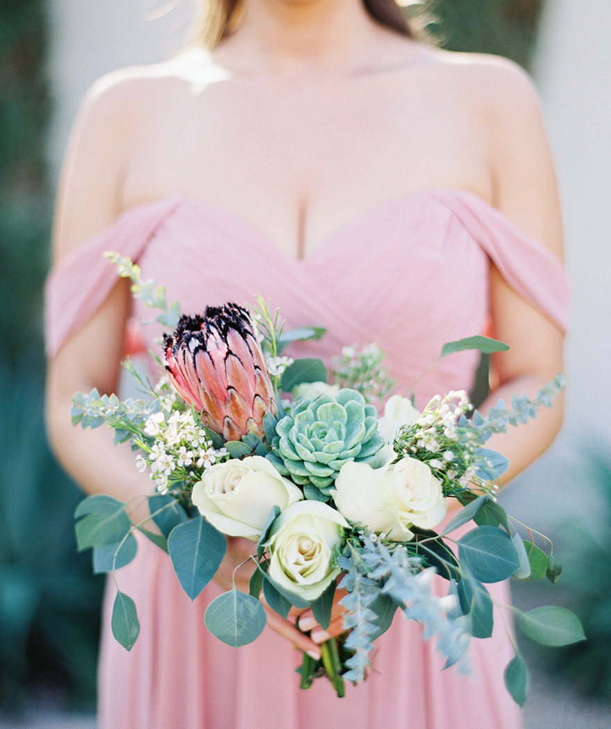 bouquet with greenery, protea & succulents by Butterfly Petals