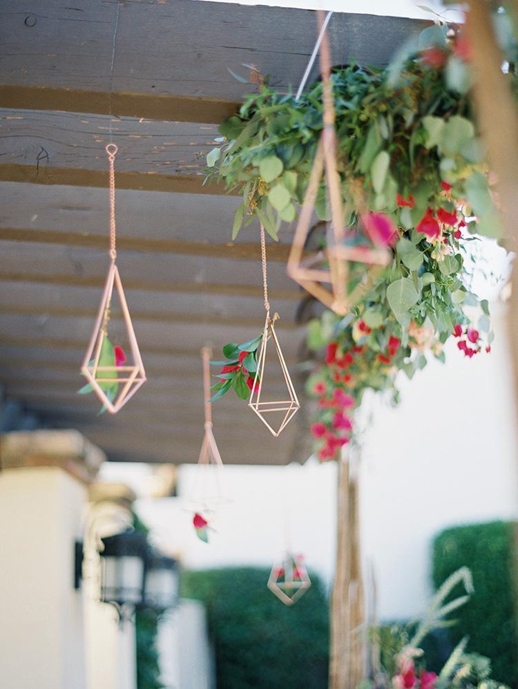 copper & bougainvillea wedding decor