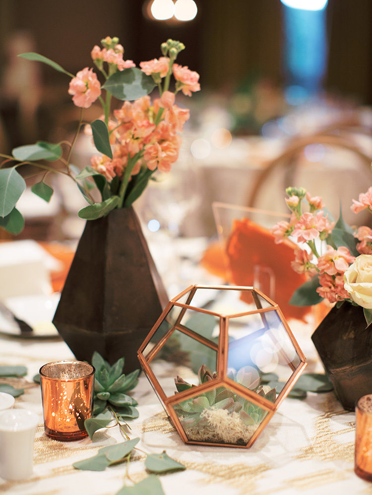 copper & succulent reception decor