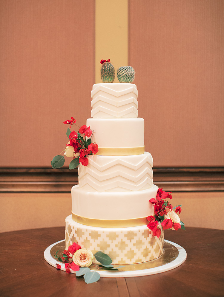 wedding cake with cacti & bougainvillea