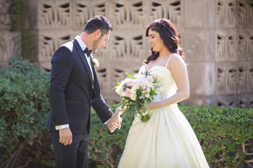 bride & groom's first look at Arizona Biltmore