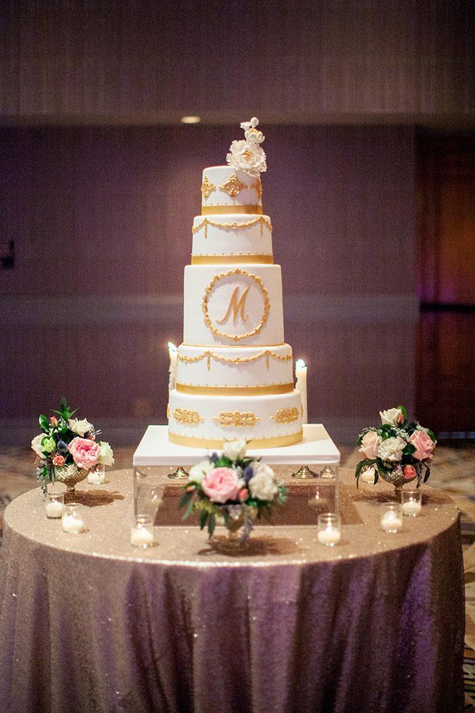 elegant gold & white wedding cake