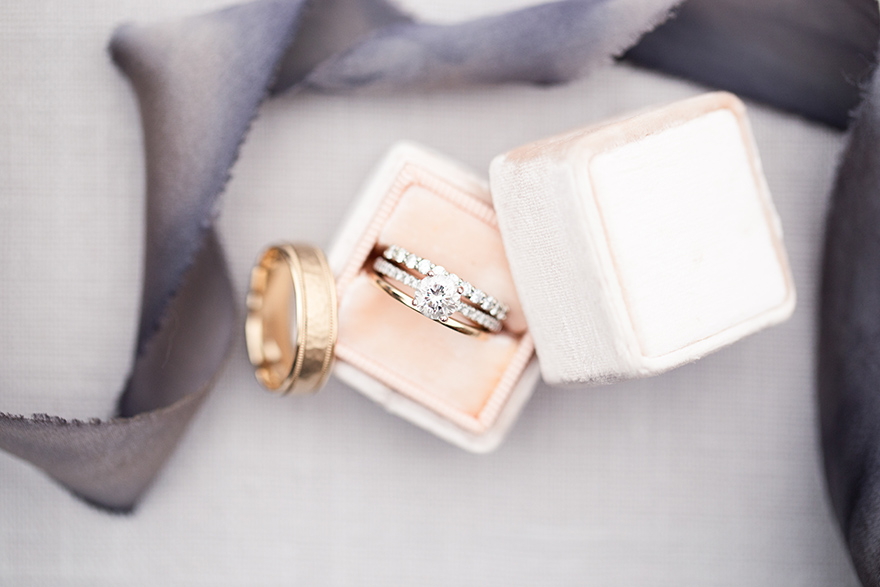 wedding rings in a peach Mrs. Box