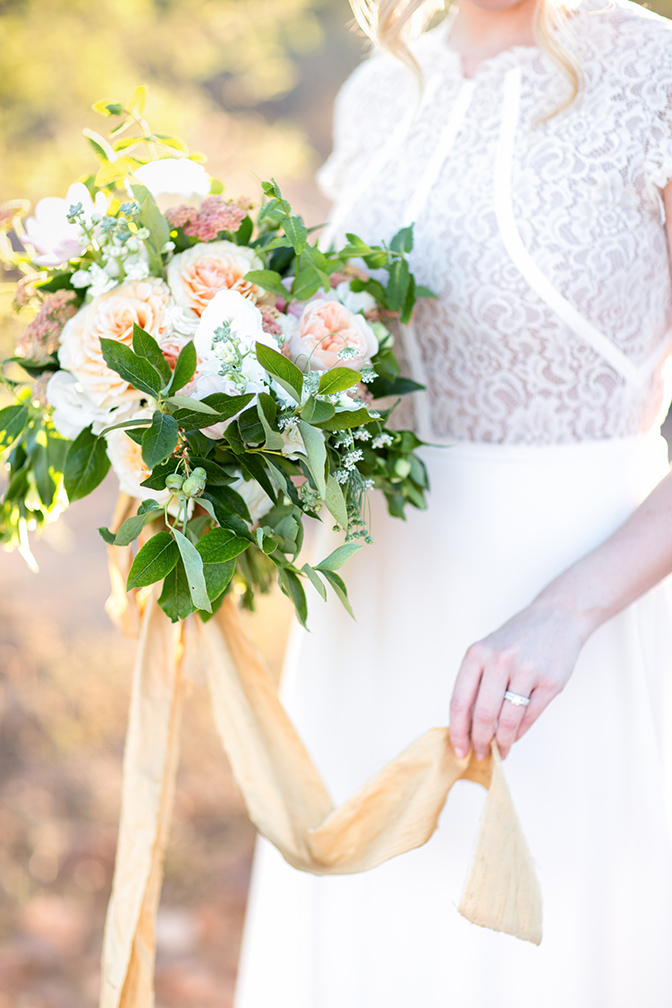 peach bouquet tied with a silk ribbon