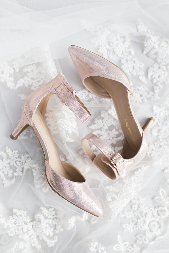 shimmering wedding shoes