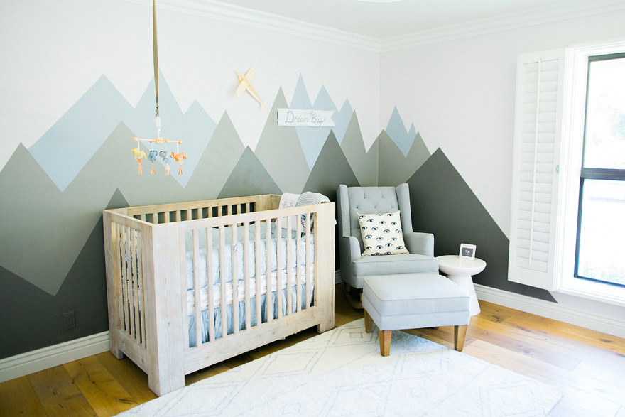 modern nursery with mountain mural