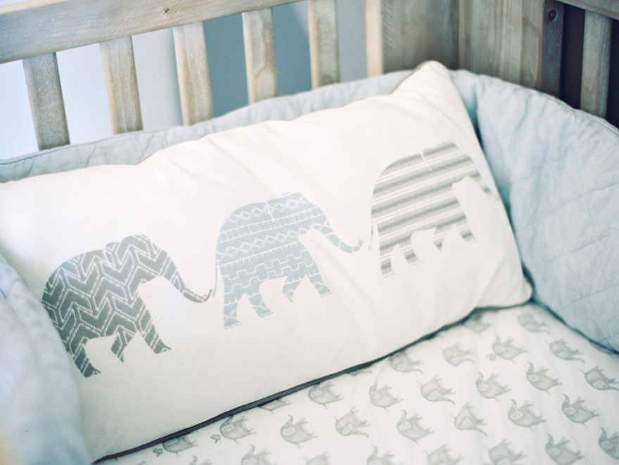 elephant pillow in a modern nursery