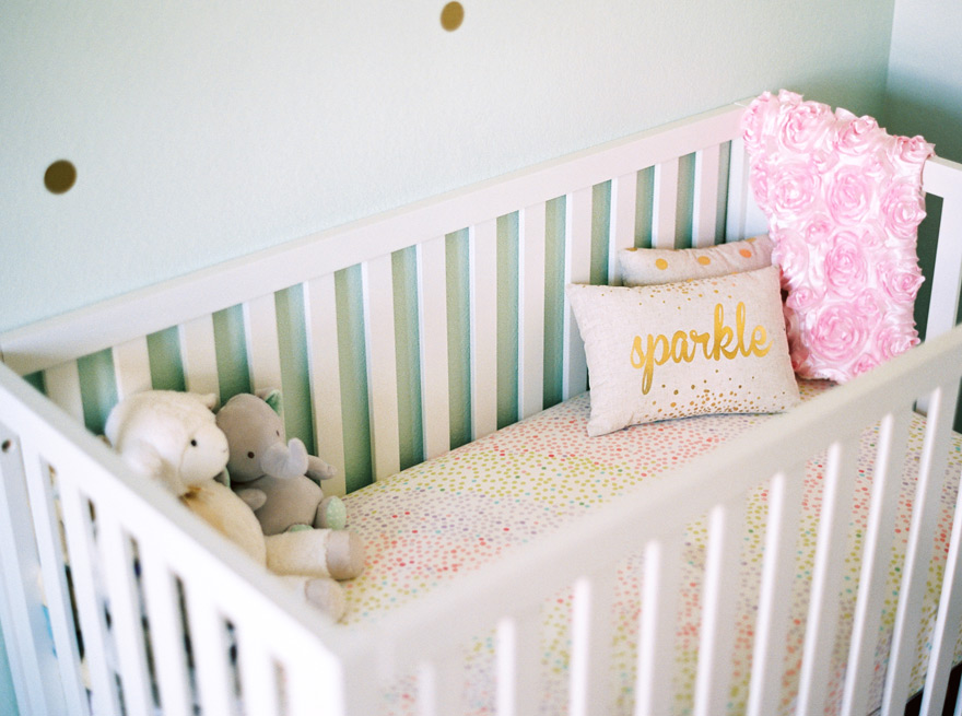 Pastel and polka dots with custom touches for a pretty nursery