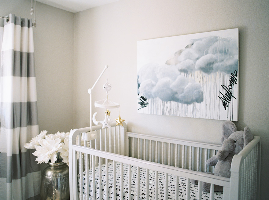 modern gray nursery with custom artwork
