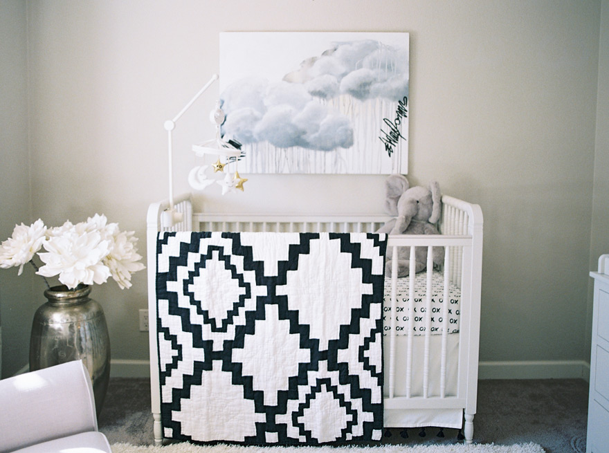 gray black and white nursery with metallic notes