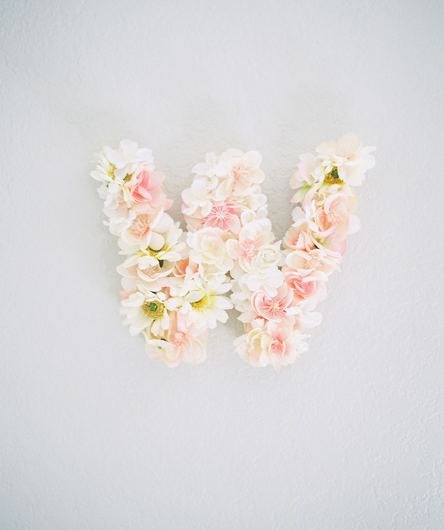 floral initial for nursery