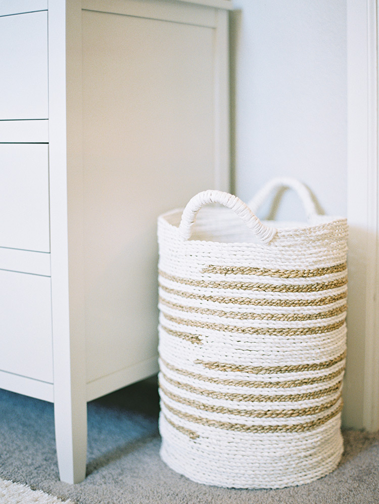 white and gold coil basket for nursery