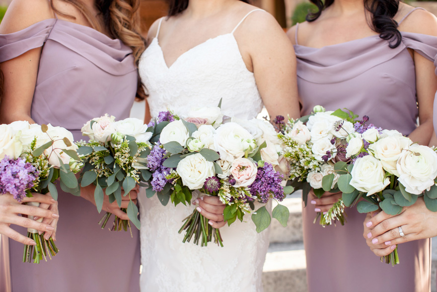 purple & white bouquets