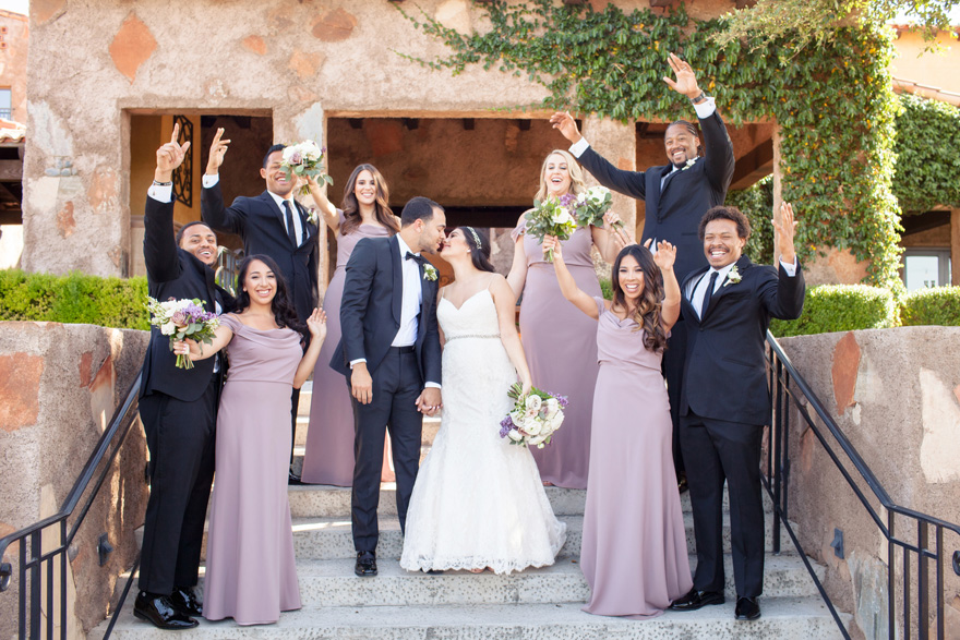 bridal party in pale purple