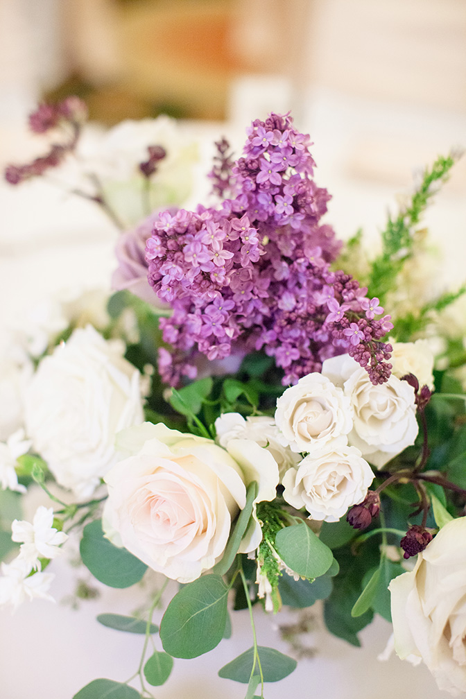 white & purple wedding flowers